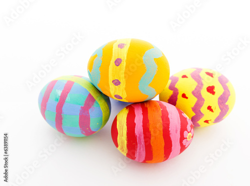 Colourful painted easter egg isolated on white