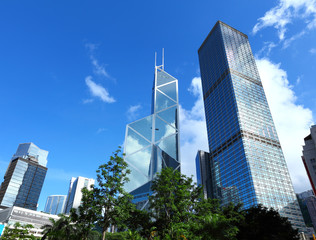 Financial district in Hong Kong
