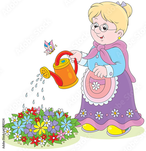 Granny watering flowers