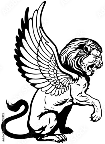 sitting winged lion black white