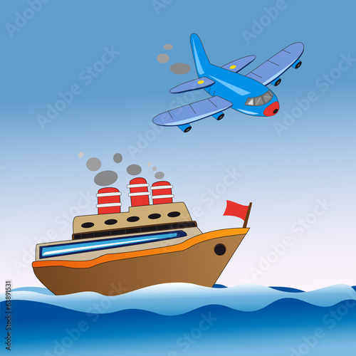 boat and airplane