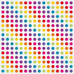 colorful background composed of rainbow polka dots