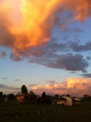 tramonto in pianura padana