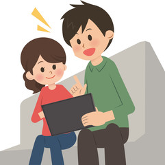 タブレット端末を使う家族