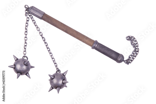 Flail with spiked balls
