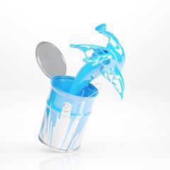 Eimer spritzt mit blauer Farbe
