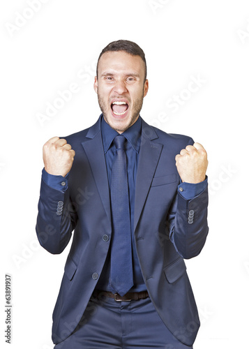 businessman shouts for success