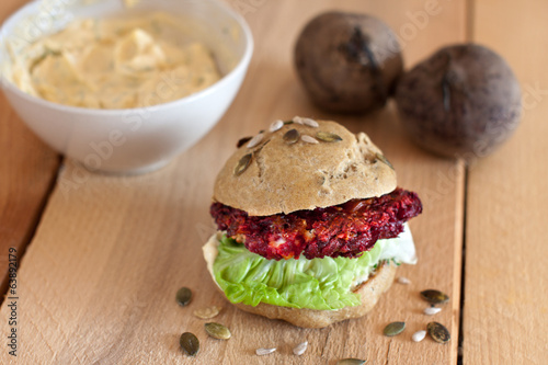 grilled beet burger in whole grain bun
