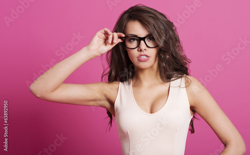 canvas print picture Sexy woman wearing fashion glasses