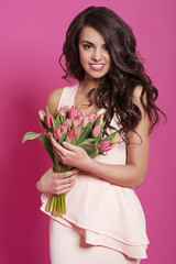 Natural beauty woman with tulips