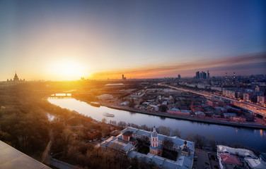 Night to day concept image. Evening in Moscow.