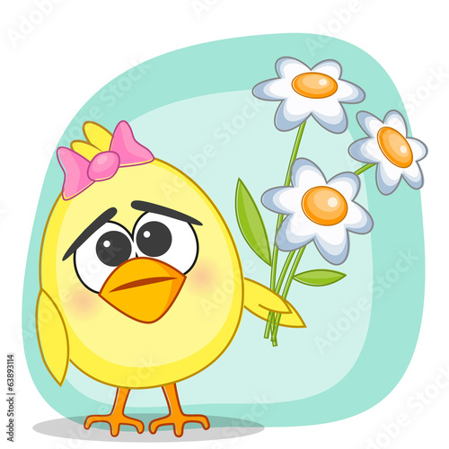 Chicken with flowers