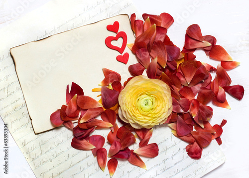 Message and Ranunculus flowers