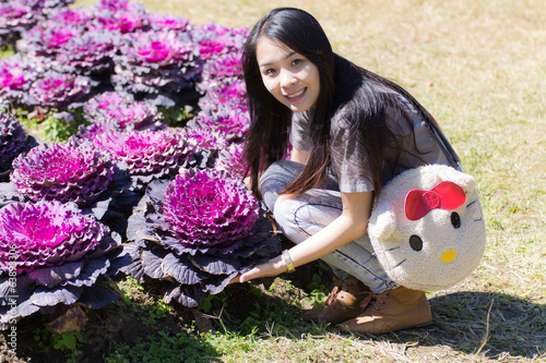 Thai Girl in purple cabbage farm