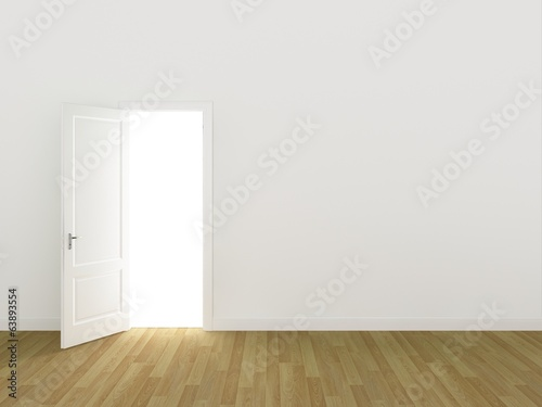 door open on white wall ,3d
