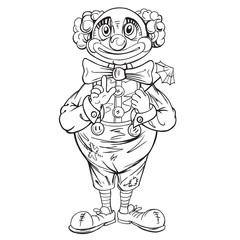 Funny cartoon clown. Drawing style black on white.