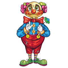 Funny cartoon clown on a white background