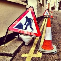 Roadwork signs in London