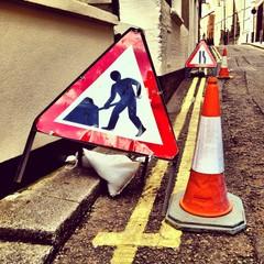 Roadwork signs in London