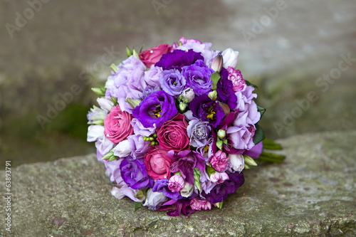 Bouquet of colorful flowers on natural background