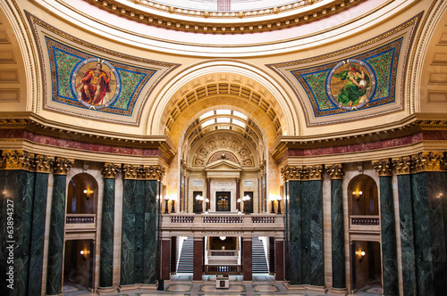 Interior of the dome of the Wisconsin State Capitol building in