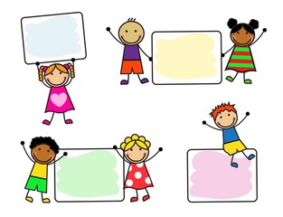 Cartoon smiling children with posters on white background
