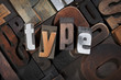 type, word written with letterpress printing blocks