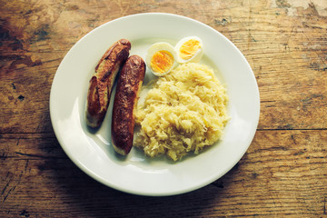 Eggs, sausages and sauerkraut