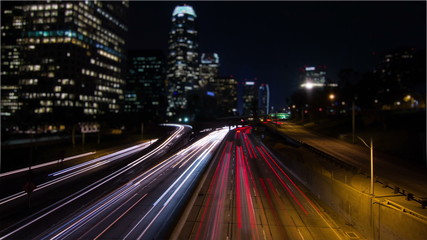 Tilt Shift Time Lapse Night Traffic Downtown Los Angeles