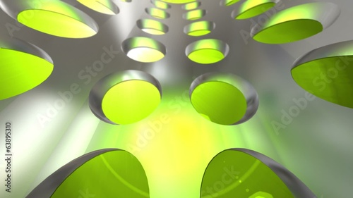 Chrome colored technology style lime green and silver background