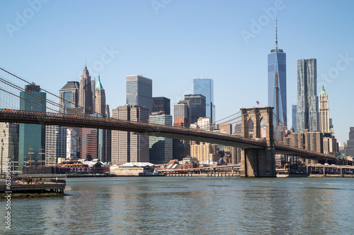 New York City Manhattan downtown skyline Brooklyn Bridge