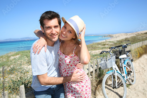 Portrait of sweet couple spending vacation on island