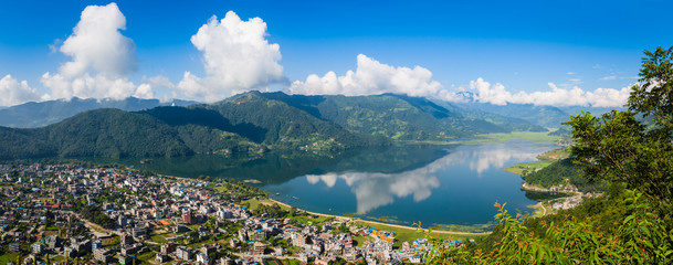 The popular tourist city of Pokhara and the Phewa Lake