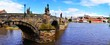 Charles Bridge panorama with Prague Castle, Czech Republic