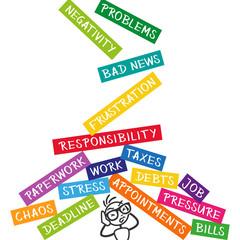 Stickman depression, problems, responsibility, work, deadline