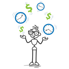 Stickman, juggling, dollar, clocks, time is money, productivity
