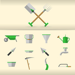 Illustration of gardening tools