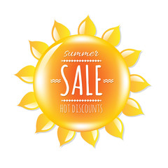 Summer Sale Banner With Symbol Sun