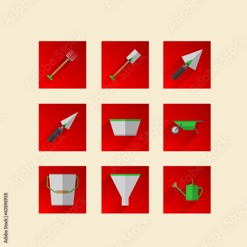 Flat icons for gardening tools