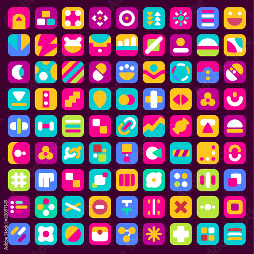 Set of colorful abstract flat icons for mobile app and web