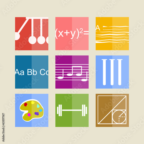 Icons for school subjects