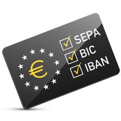Schwarze glänzende SEPA Karte