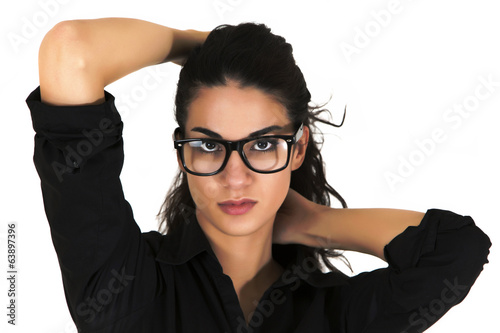 Pretty young woman with glasses