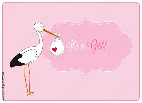 Foto op Aluminium Retro sign baby girl announcement card, stork brings bundle