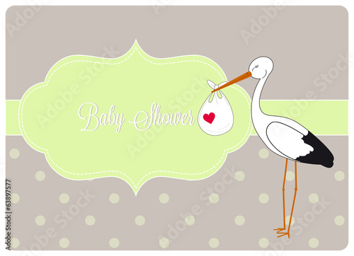 baby shower invitation card, stork brings bundle
