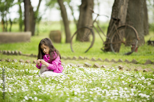 Cute little girl at the spring field