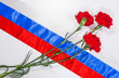 Carnations on Russian flag