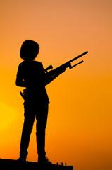 Sniper girl,silhouette