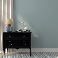 Lamp on the black dresser