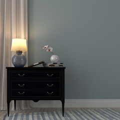 Luminous lamp on the black dresser